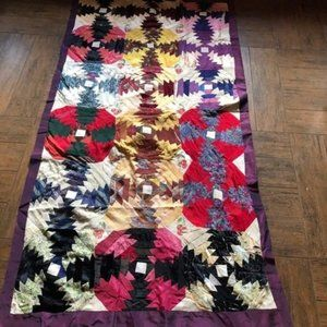 Antique Crazy Quilt With Cherries As Found